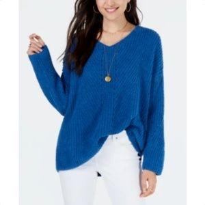 Style Co Petite Chenille V-Neck Sweater Ocean Tide